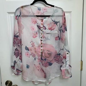 Tops - Floral Sheer Blouse